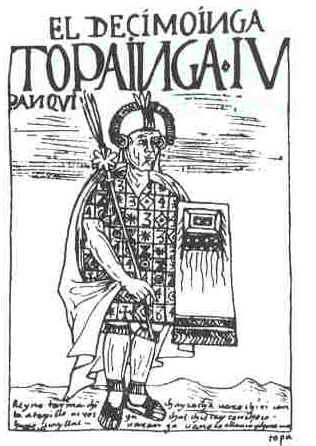 Image credits: Felipe Huaman Poma de Ayala (1550–1615). EL DÉCIMO INGA, TOPA INGA IVPANQVI / Reynó Tarma, Chinchay Cocha, Uarochiri, Canta, Atapillo, Ucros, Yachas, Chiscay, Conchoco, Huno Uayllas, Uaranga Uanoco Allauca [e] Ychoca, Uamalli. /At the Royal Library, Denmark. http://www.kb.dk/permalink/2006/poma/110/en/text/